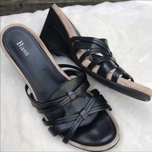 Bass Rachel Black Slip On wedge Sandals 8.5